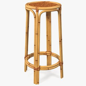 3D Bamboo Backless Counter Stool model