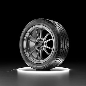 3D model Car wheel Hankook Ventus Prime 3 tire with Konig Hypergram rim