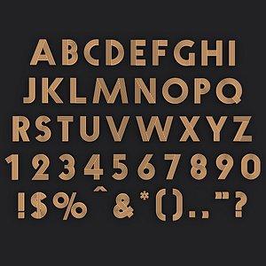 alphabet english retro 3D model