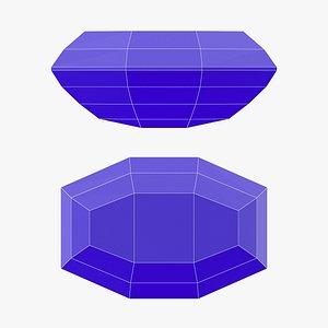 3D Long Octagon Gemstone - Printable model