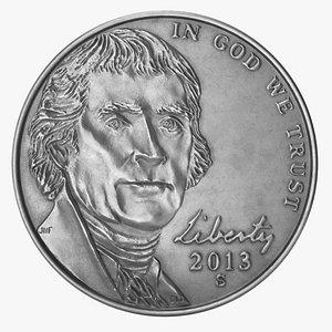 nickel coin pbr 3D model