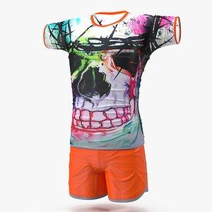 3D teenage boy wear swimwear