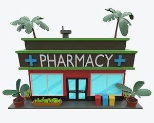 3D pharmacy low-poly cartoon