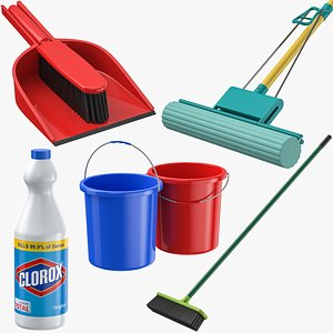 Floor Cleaning Supplies Collection 3D model