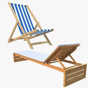 3D Beach Chair and Sun Lounger model