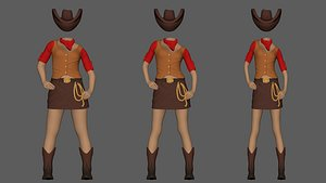 3D model cowgirl ready print different