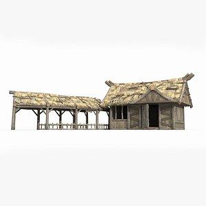 combination ancient farmhouses 3D