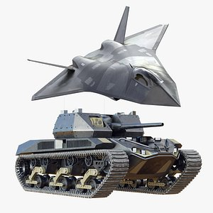 Future Jet Fighter and Tank 3D model