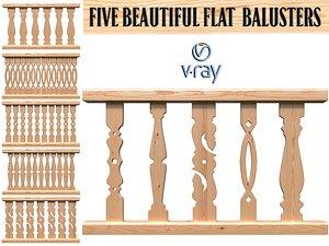 beautiful flat balusters 3D model