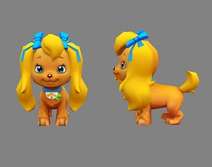3D Cartoon puppy - yellow female dog - Pet dog