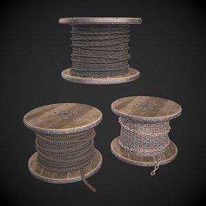 3D Rope Spool model