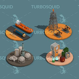 Low Poly Oil Industry Isometric Low-poly 3D model model