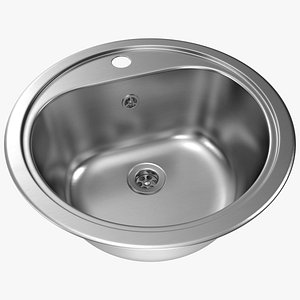 3D Oval Stainless Steel Inset Sink model
