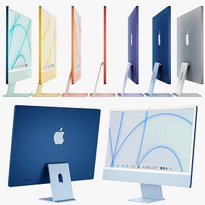 Apple iMac 24-inch 2021 all colors 3D model
