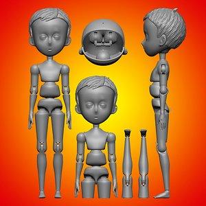 Marioneta niño anime 001 Anime boy puppet 001 3D