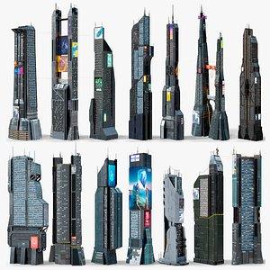 3D model X14 Sci-Fi Futuristic Skyscrapers PBR Buildings Collection