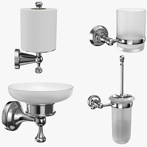 Bathroom Accessories Collection 4in1 3D model