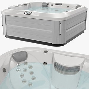 Jacuzzi J 335 Hot Tub Grey with Water 3D model