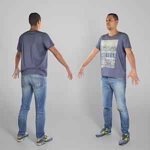 Young man in casual clothes in A-pose 318 3D model