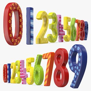 3D model Colourful Wooden Number Set