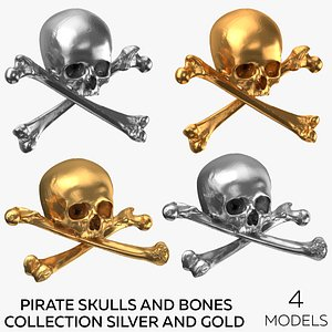 3D Pirate Skulls and Bones Collection Silver and Gold - 4 models