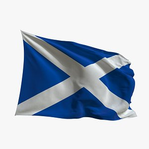 3D model Realistic Animated Flag - Microtexture Rigged - Put your own texture - Def Scotland