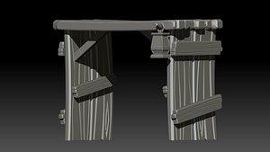 stylized wooden gate 3D model