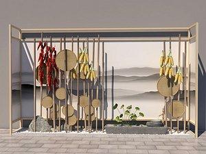 corn and bamboo window weaving 3D