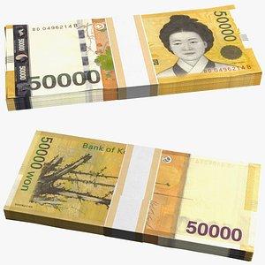 South Korean 50000 Won Banknote Bundle model