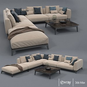 3D flou branding olivier sofa set