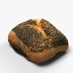 Pastry small poppy seeds bred 3D