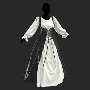 3D Medieval dress1 Marvelous Designer project model