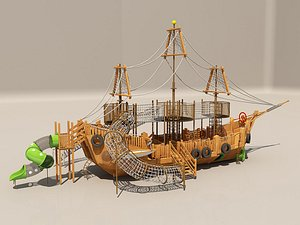 3D Pirate ship playground slide rides