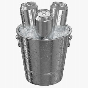 Ice Bucket With 500ML Cans 3D model