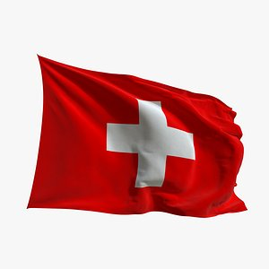 Realistic Animated Flag - Microtexture Rigged - Put your own texture - Def Switzerland model