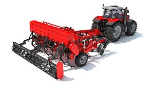 3D tractor seed drill model