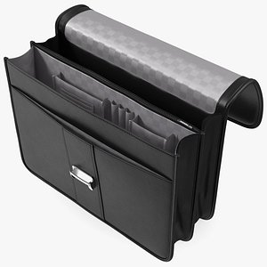 3D Opened Leather Flapover Briefcase Black