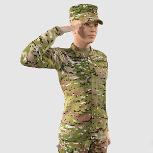 3D Female US Soldier Camouflage Rigged for Modo model