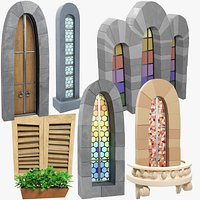 Stylized Medieval Windows and Door Collection V2