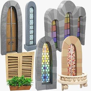 stylized windows door balcony 3D model