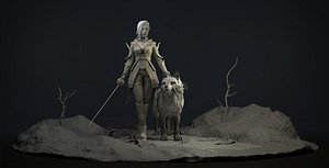3D The Dark Elfess Girl and her wolf Print 3D print model