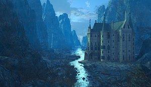 Fantasy MoonLight Palace Environment. model