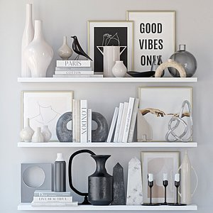 3D Shelves with decor