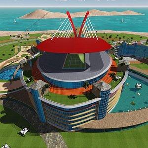 3D island resort hotel model