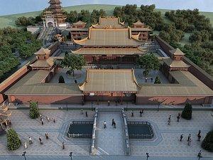 3D Chinese ancient architecture palace palace, palace, palace, quadrangle courtyard, the Palace Museum model