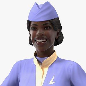 3D dark skinned black stewardess