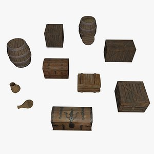 3D model containers boxes barrels trunks