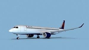 3D Airbus A220-300 Delta Express