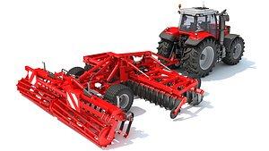 3D tractor trailed disc harrow model