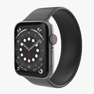 Apple Watch Series 6 silicone solo loop gray 3D model
